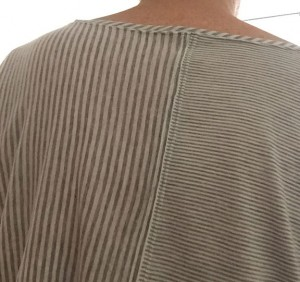 Backview, showing different stripe widths and orientations.